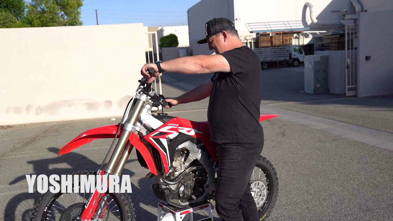 first start 2020 honda crf25r with yoshimura rs 9t exhaust system