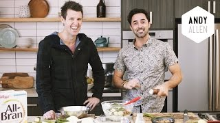 My Zucchini Fritters W Spiced Labneh | #doublethegoodness With Andy & Ben