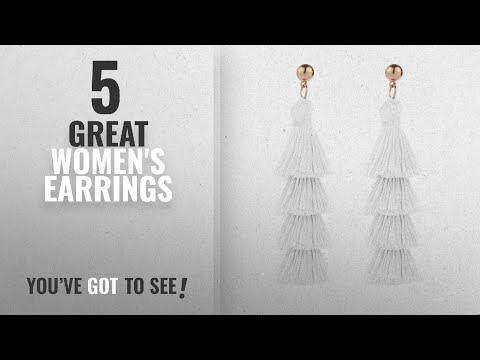 10 Best White Tassel Earrings [2018]: BaubleStar Fashion Gold Tassel Dangle Earrings Layered Long