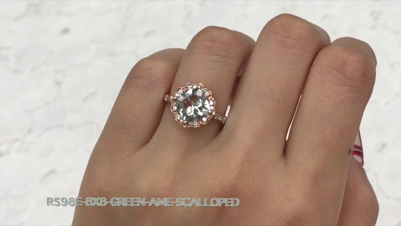 7382dc6574b89 Vintage Floral Scalloped Green Amethyst Ring in Rose Gold