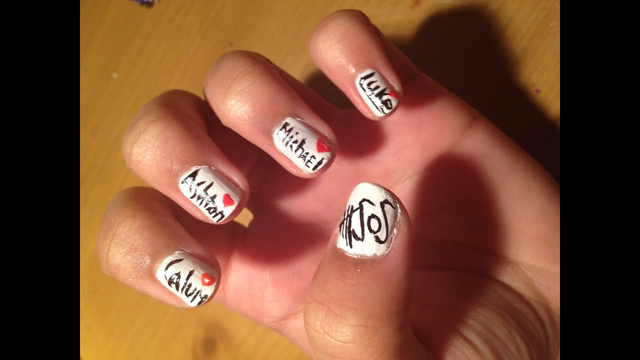 5 Seconds Of Summer Nail Tutorial Youtube