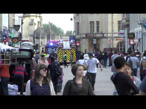 Firefighters in Oxford dealing with a fire in the golden cross arcade. Sunday 24th of August 2014