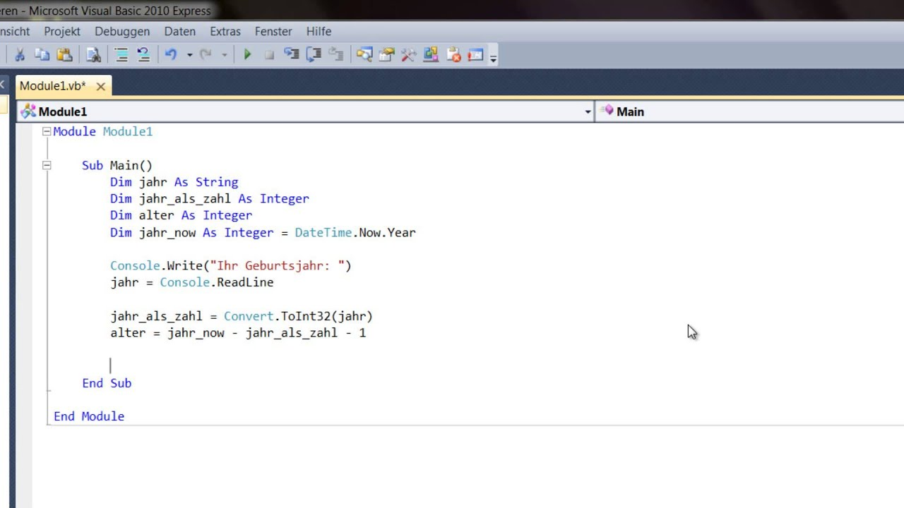 Visual Basic Datentypen