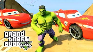 Spiderman-HULK & McQueen (GTA 5 Mods Funny Fails) - Disney Cars in GTA 5