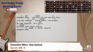 Remember When - Alan Jackson Guitar Backing Track with scale, chords and lyrics
