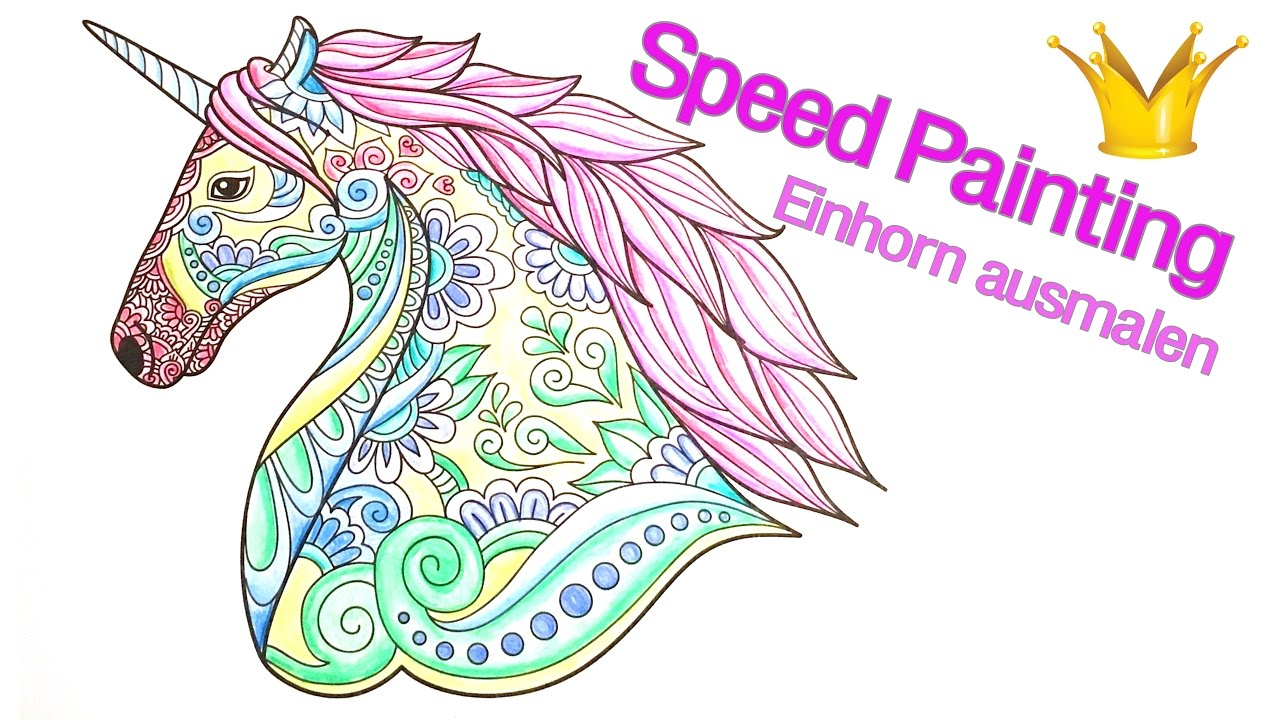 Speed Painting: Einhorn Mandala ausmalen - YouTube