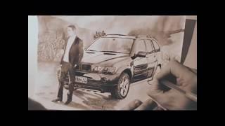 рисунок BMW X5, момент из фильма БУМЕР 2