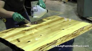 How Liquid Glass Finish Is Applied On Cabin Furniture At Jhe's Log Furniture Place
