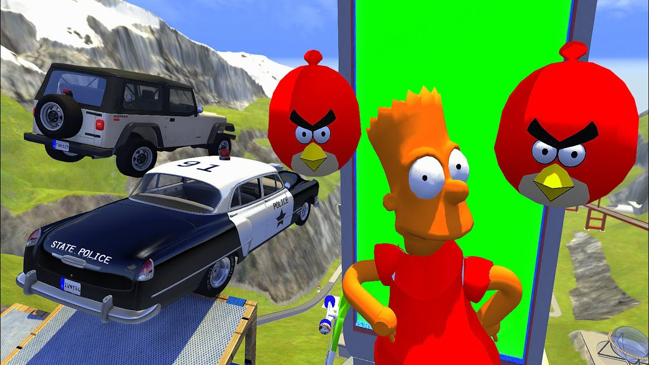 Crazy Vehicle High Speed Jumps Over BART & Angry Birds In Vertical Green Slime Pool - BeamNG.drive