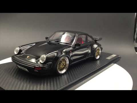 Ignition Model 1:18 Porsche 911 (930) Turbo with BBS Wheels Resin car model (Black) IG0948