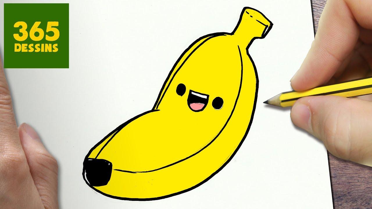 Comment dessiner plantain kawaii tape par tape dessins - Dessiner un fruit ...