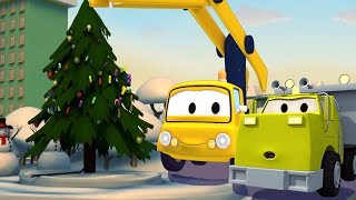 Construction Squad: the Dump Truck, the Crane and the Excavator build the Christmas Tree of Car City