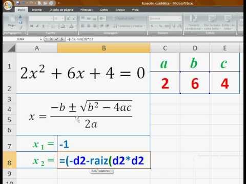 Ecuaciones cuadráticas en Excel (INSAJUT) - YouTube