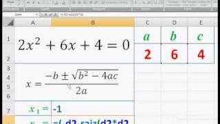 Ecuaciones cuadráticas en Excel (INSAJUT)