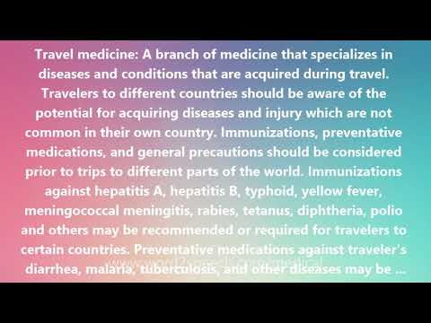 Travel medicine - Medical Meaning and Pronunciation