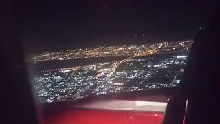 Flight landing night time Kuwait international airport Best video in HD