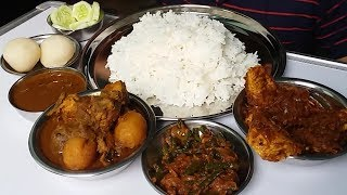 Chicken with Potato Curry and Omelette Curry Eating with Rice