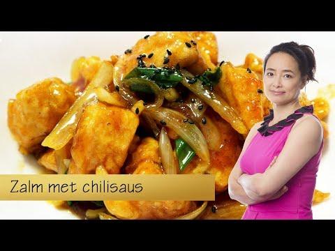 Verse zalmfilet met chilisaus op Chinese wijze