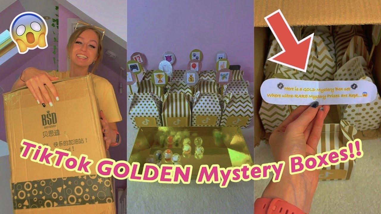 12 TikTok GOLDEN Mystery Boxes arrived at my door?!😱✨*asmr* #Shorts