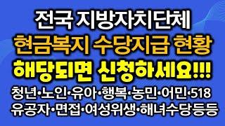 전국 긴급생계 복지지원 재난지원금 관련 지방자치단체 현금복지 수당지급 현황