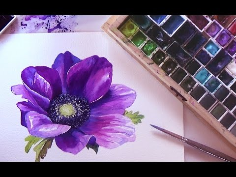 how-to-paint-a-flower-in-watercolor.-tutorial-step-by-step.-🌺-anemone🌺