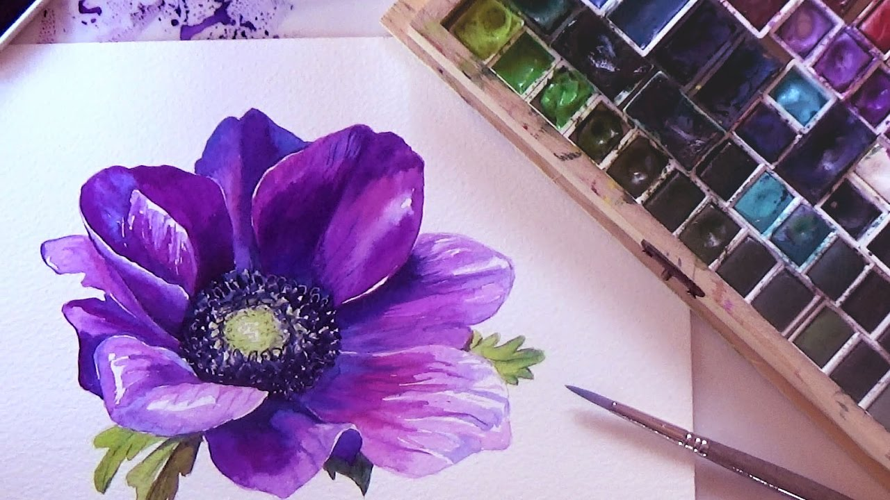 How to paint a flower in watercolor tutorial step by step for Step by step painting tutorial