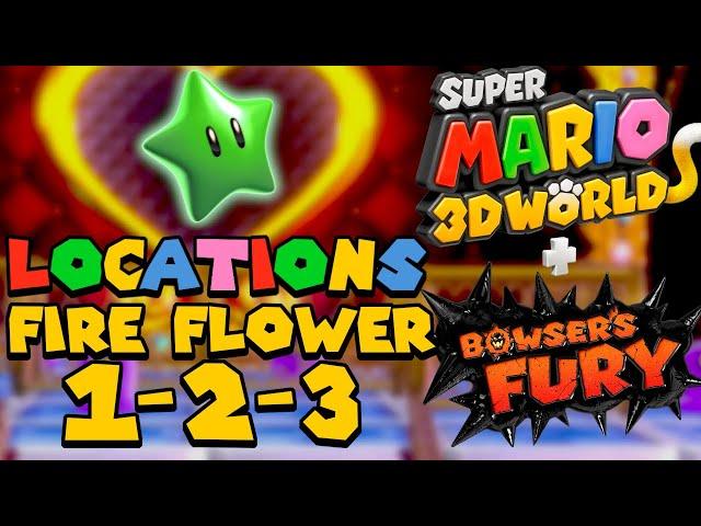 All Green Star Locations (World Fire Flower 1 2 3) - Super Mario 3D World (Switch)