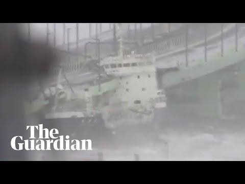 Ship crashes into airport bridge as Typhoon Jebi reaches Japan