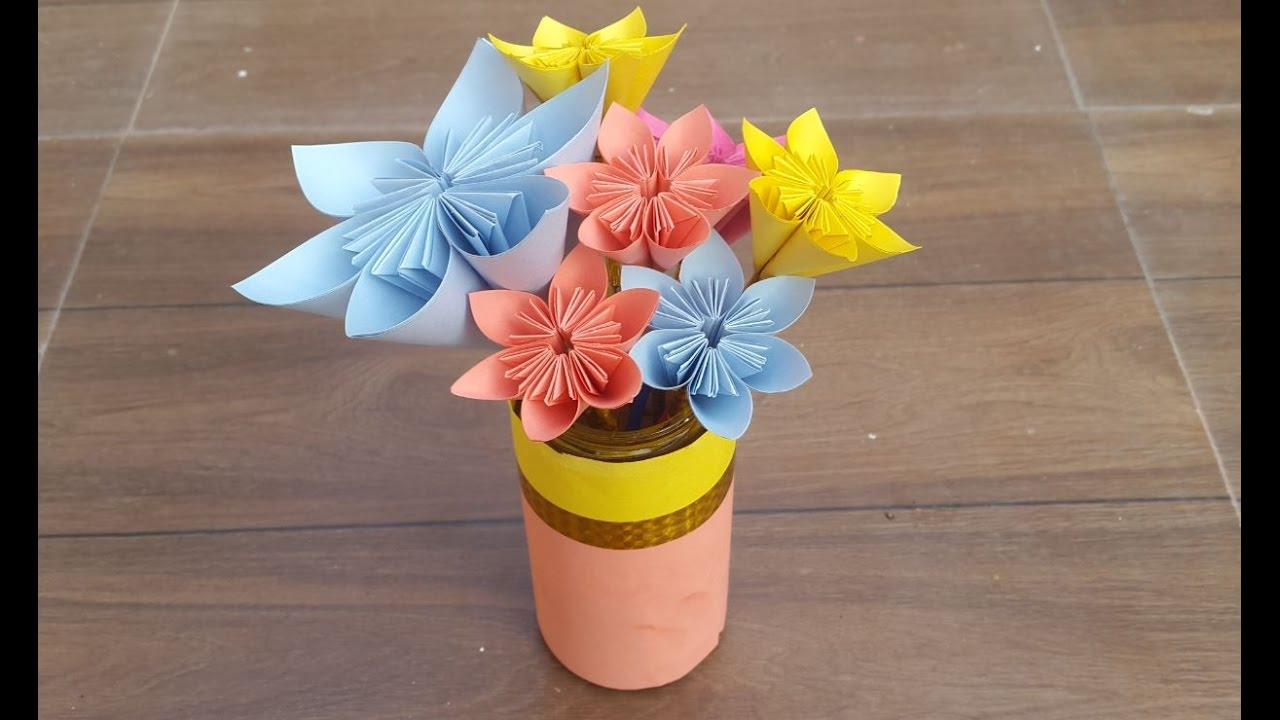 very attractive design flower vase. How to make beautiful paper flowers and a flower vase  for beginners YouTube