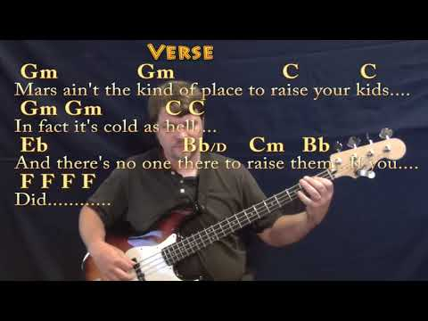 Rocket Man Elton John Bass Guitar Cover Lesson In Gm With Chords