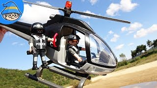 Playmobil helicopter toys and policemen. rescue Mission with the Paw Patrol