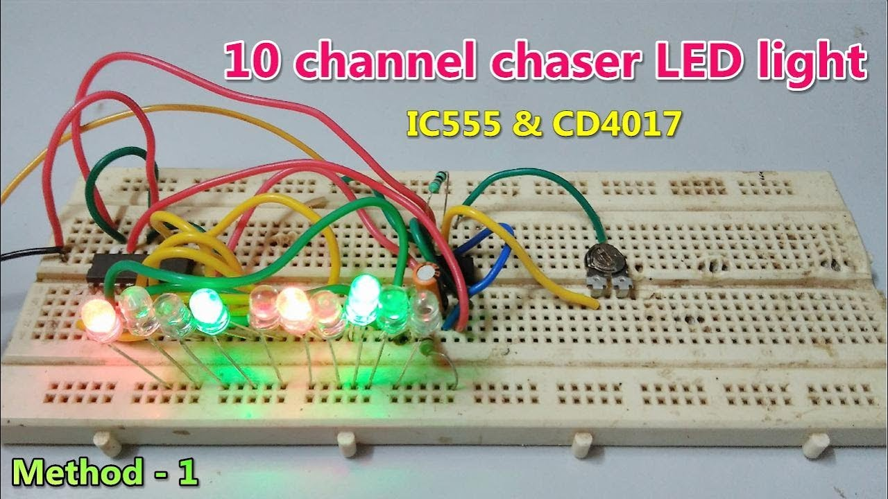 10 Channel Chaser Led Lights Using Ic 555 And Cd4017 Method 1 Flasher One Transistor Blinking Circuit 5