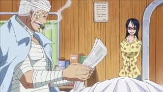 one piece smokey learns about luffy and law s victory  episode 736