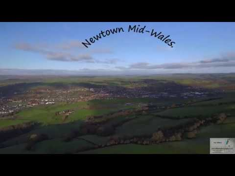 Newtown Powys from above.