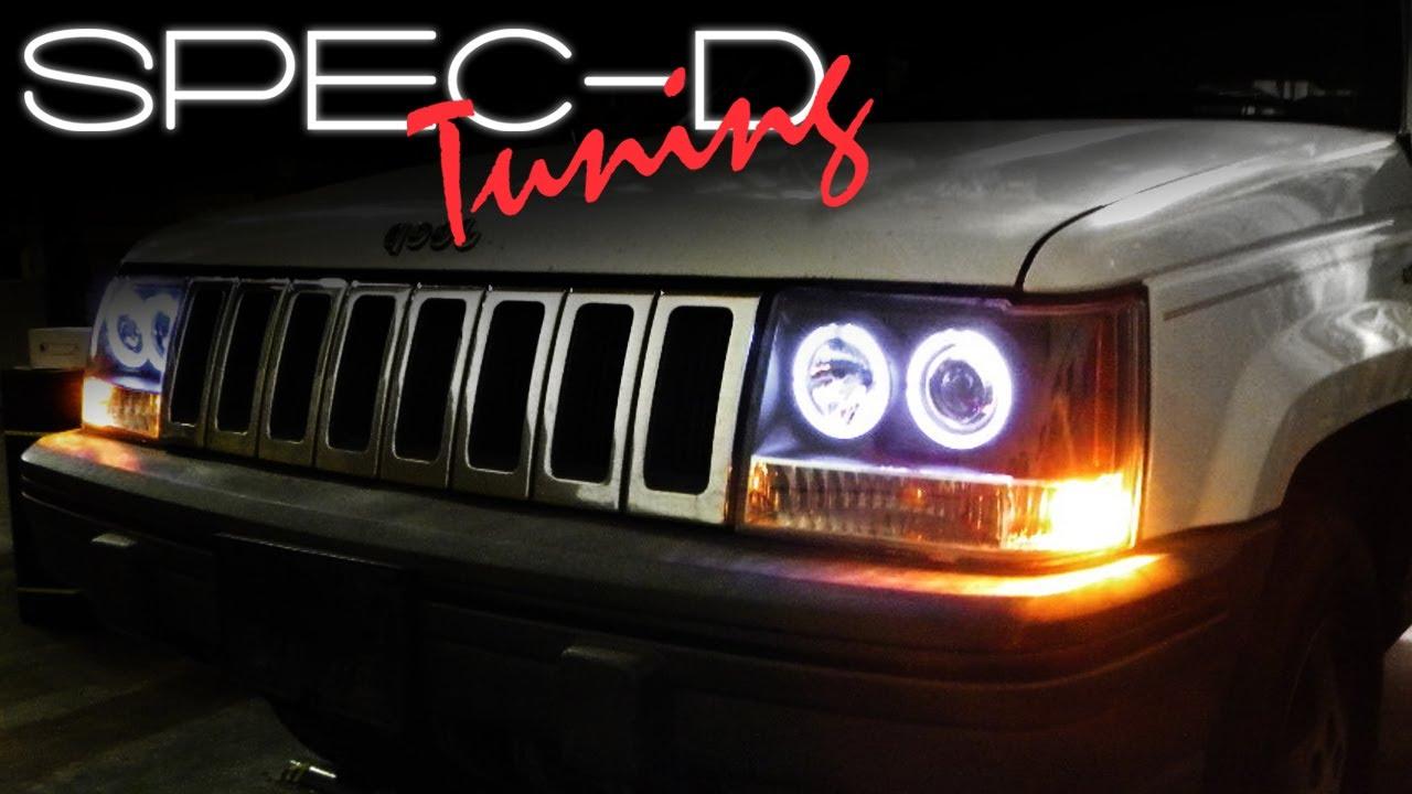 specdtuning installation video 1993 1998 jeep grand cherokee 1pc projector headlights youtube [ 1280 x 720 Pixel ]