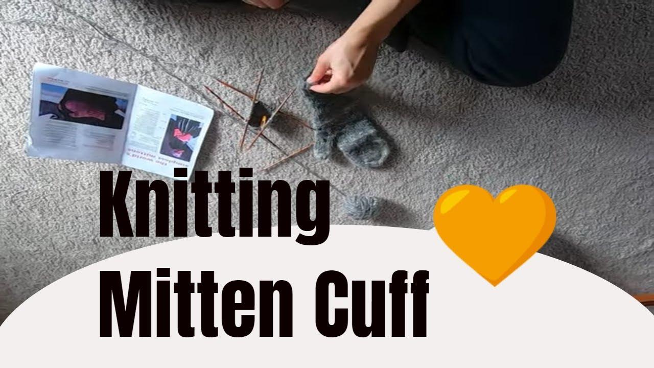 Knitting a mitten cuff with hand spun yarn