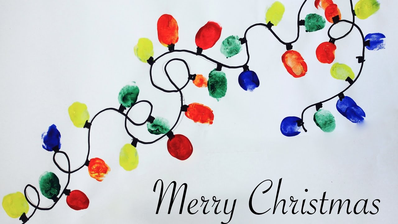 Artworks Christmas Cards.Easy Christmas Craft How To Make A Thumbprint Christmas Lights Artwork