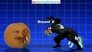 Tedi The Robotic Teddy Bear And Annoying Orange VS Venom And Rainbow Dash In A MUGEN Match / Battle
