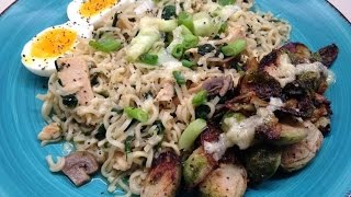 How To Make Chicken Ramen with Roasted Tahini Brussels Sprouts