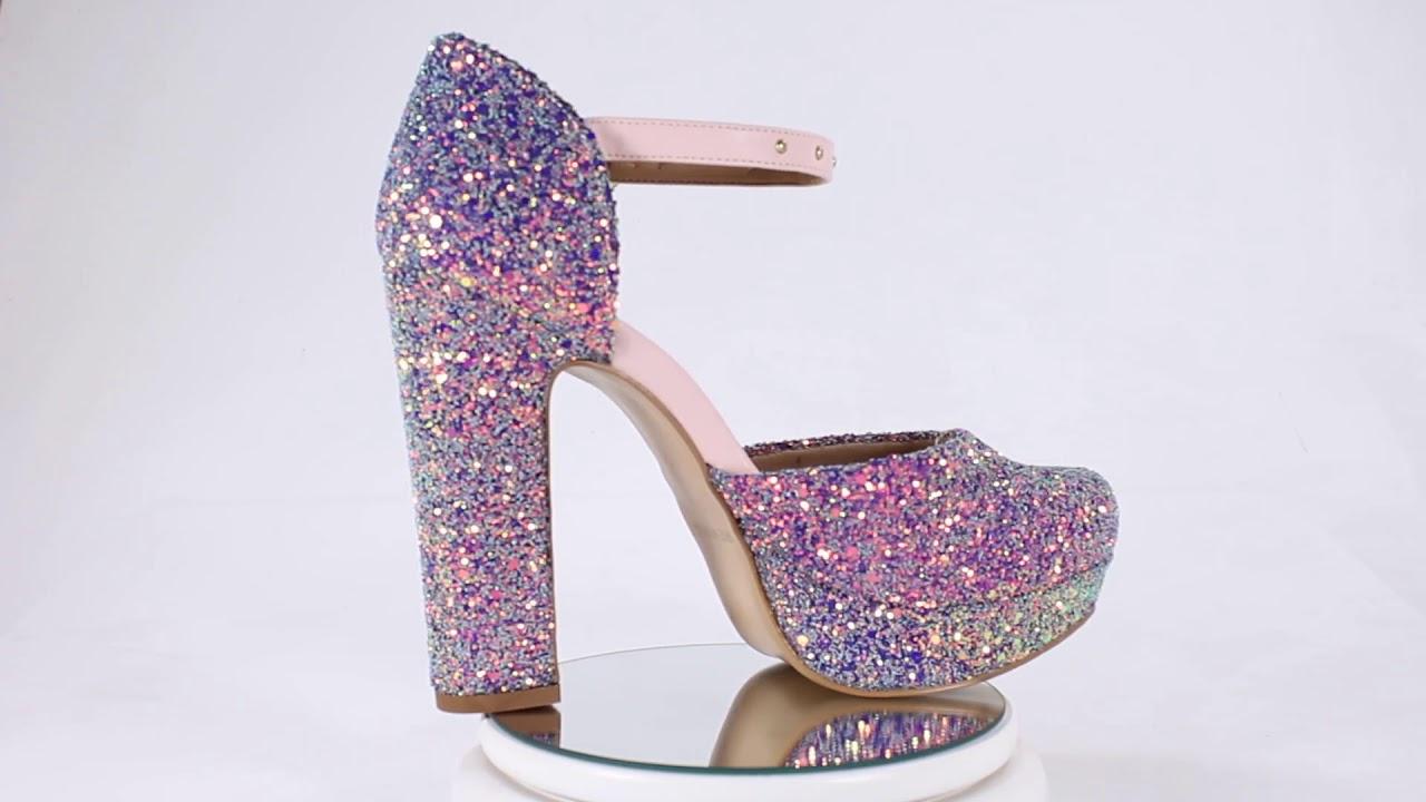 1a7694c440 Sandália Week Shoes Salto Grosso Bico Redondo Glitter Lilás - YouTube