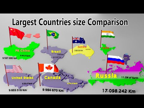 Flag And Countries Of World | Ranked By Largest Land Area | Countries Size Comparison | Top 100