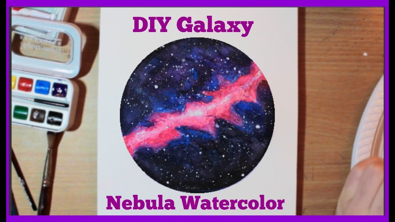 How to paint a nebula galaxy and stars watercolor for How to paint galaxy