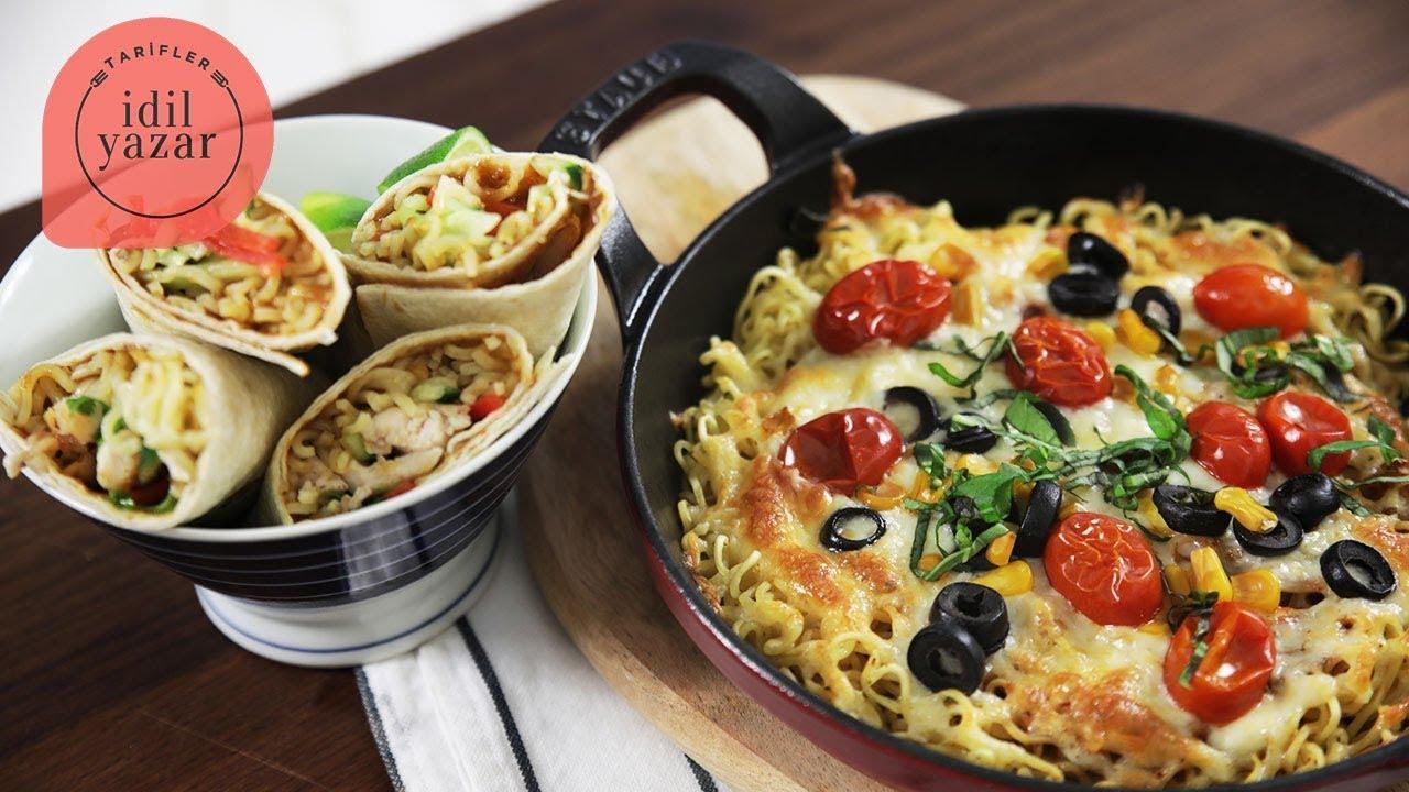 Yemek tarifleri: Noodle Pizza & Tavuklu Noodle Wrap Tarifi