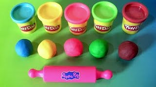 Learn Colors Peppa Pig Play-Doh Egg Surprise with Dough Stampers Spiderman by Funtoyscollector