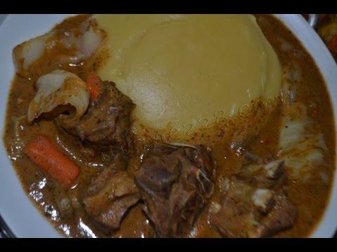 Sauce arachide mafé & fufu (cuisine togolaise)