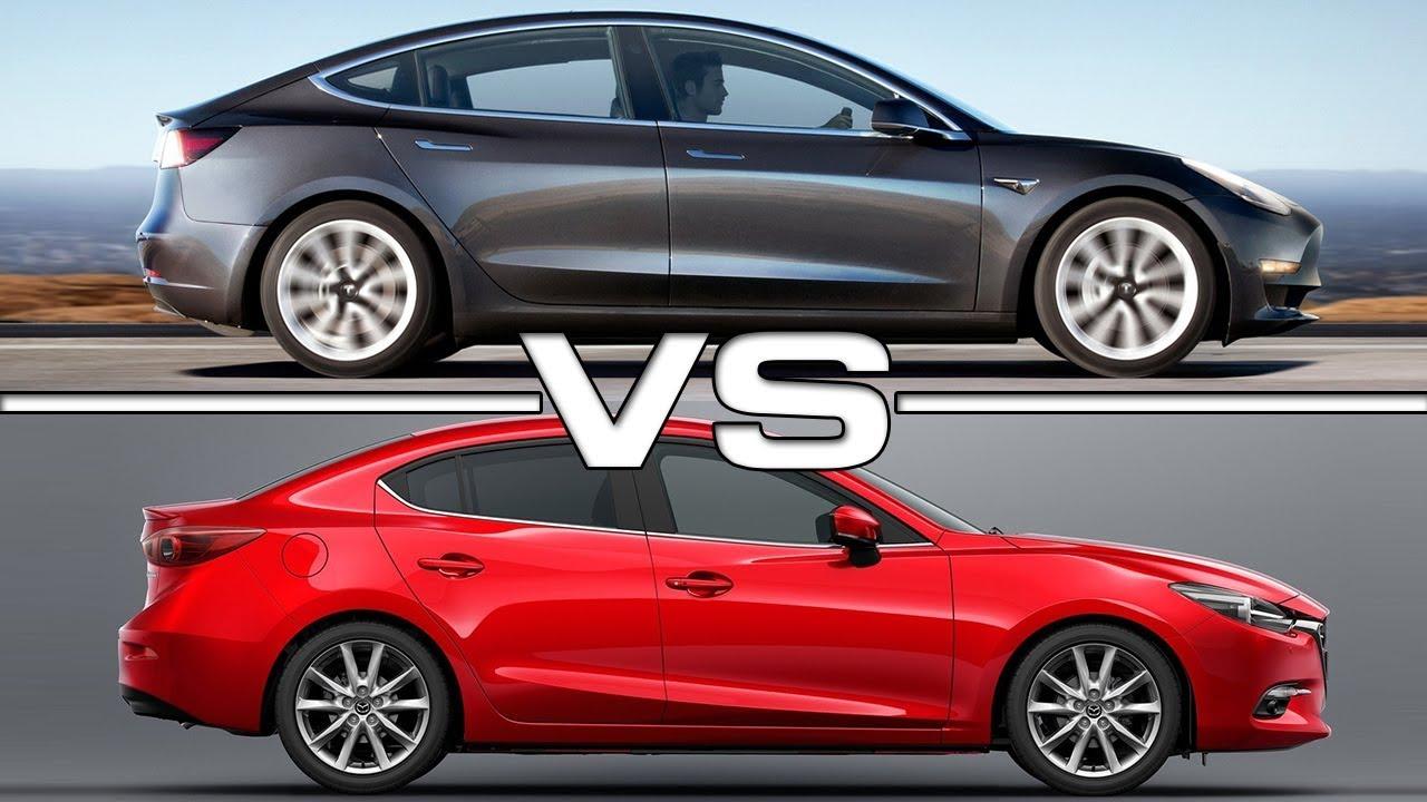 2018 Tesla Model 3 vs 2017 Mazda 3 Sedan - YouTube