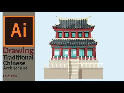 Designing a Traditional East Asian Building in Adobe illustrator | Fast Drawing