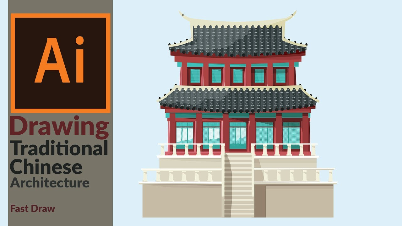 Designing A Traditional East Asian Building In Adobe Illustrator