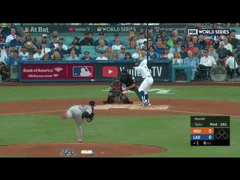 CHRIS TAYLOR HOME RUN ON FIRST PITCH WORLD SERIES GAME 1 Astros vs Dodgers