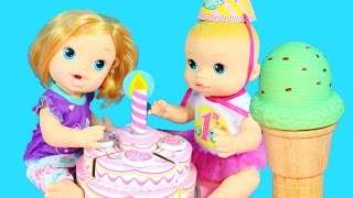 BABY ALIVE Dolls Birthday Party Cake Melissa & Doug Ice Cream Cones Babies Alive Videos
